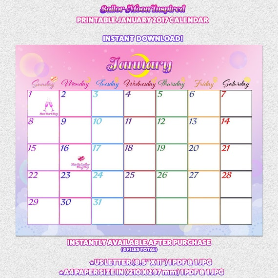 January Calendar Girl Pdf : Sailor moon crystal inspired printable january calendar
