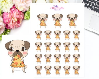 PIZZA - PUG Stickers, Dog Stickers, Eating Pizza, Pizza sticker, Fast Food, Decorative Stickers, Planner Stickers, Character, Emoti Sticker