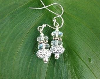 Silver and Clear-Iridescent Dangle Earrings, Iridescent Rondel, Bridesmaid Earrings, Bridal Earrings, Prom Earrings, Rhinestone, Gift