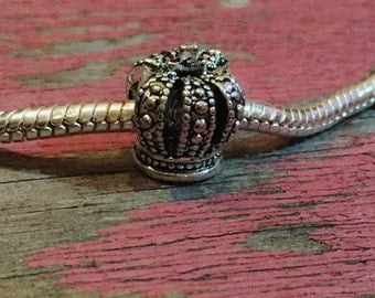 Silver Crown Bead / Marcasite Crown Bead / Detailed Euro Crown Bead / Antique Silver Queen Bead / King Bead / 9 x 11 mm / KBA43