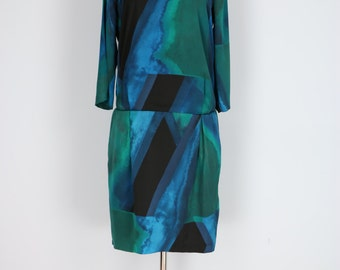 1990s Dress - Shift Dress - Watercolour Print - Drop Waist - Long Sleeve - Blue Green Black - Vintage Dress - Size 8 Size Small Medium
