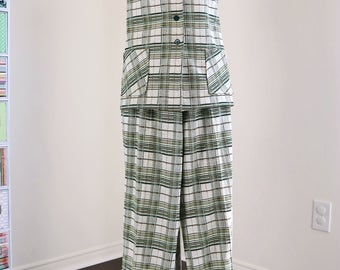 1970s Plaid Pantsuit - Vintage Two Piece Leisure Suit - Button Up Vest - Wide Leg - Cuffed Hem - Sewn In Seam - Pockets - Large/Extra Large