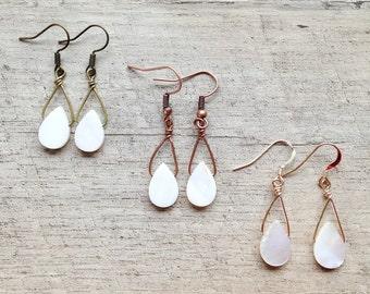 SALE Mother of Pearl Earrings, Dangle Earrings, Shell Earrings, Pearl Earrings, Pearl Jewelry, Rustic Modern Jewelry, Free Shipping U.S.