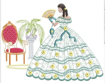 """Southern belle machine embroidery download 4 diff sizes (3.4 X3.4 4x4 5x5 6x6 7x7"""")"""