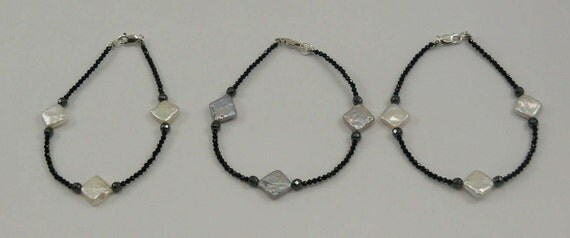 Freshwater Multi-Color Pearl Spinel & Hematite Bracelet, Sterling Silver Clasp