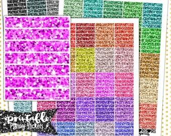 Glitter Header Bundle PRINTABLE Planner Stickers | Pdf, Jpg, Silhouette Studio V3 Format | ECLP Vertical Planner Stickers