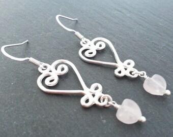 Rose Quartz Heart Earrings, Heart Earrings, Silver Plated Earrings, Love Heart Earrings