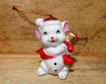Ceramic/Porcelian Mouse Ornament, Vintage item, 1980's, Christmas ornaments, Christmas Mouse decor, Vintage Christmas, Retro Christmas, gift