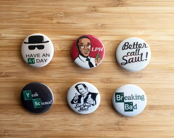 Breaking Bad Button Set, Cute Breaking Bad Gift, Breaking Bad Pinback, Heisenberg Badge, Walter White Magnets, Cute Jesse Pinkman Pins