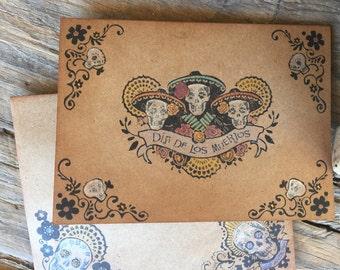 Handmade Dia Los Muertos Card