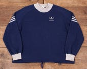 Mens Vintage Adidas 3 Stripe Trefoil Sweater Jumper Navy Grey M 42 R5259