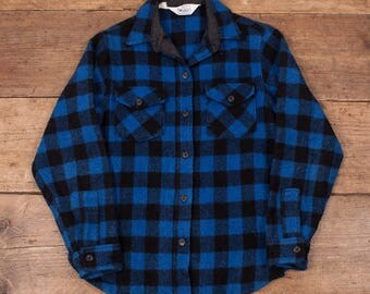 Womens Vintage 60s Woolrich CPO Lumberjack Plaid Over Shirt Size M 10 R4854