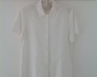 Vintage blouse, white blouse, women's shirt, ladies blouse, 90's clothing, short sleeved blouse, ladies top, summer blouse