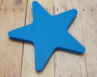 Blue Cardstock Star Cutouts-Starfish Shape Cutouts-Scrapbook Cutouts-Party Decor-Baby Shower Decor-Paper Star Decor-Blue Paper Stars-Stars