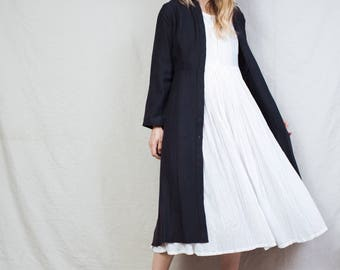 AMAZING Vintage Button Down Collared Maxi Dress / S / hipster navy blue dress long sleeve dress long shirt summer coat