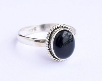 Black Onyx Ring, Black Silver Ring, Silver Black Ring, Solid Sterling Silver Ring, Sterling Silver Ring,size 3 4 5 6 7 8 9 10 11 12 13