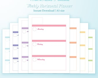 A5 Weekly Horizontal Planner inserts Erin Condren style, horizontal layout, box planner weekly, Kikki K inserts, dokibook inserts