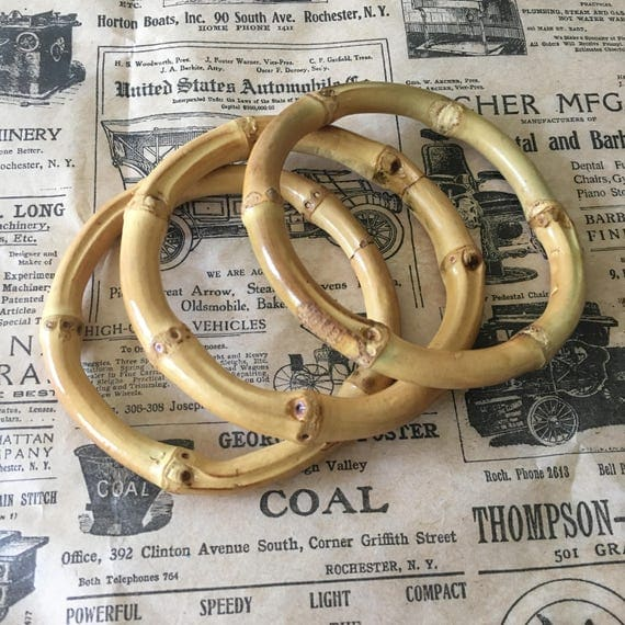 New 1940s Costume Jewelry: Necklaces, Earrings, Pins NEW!! Real Bamboo Bangles - Round - Tiki 1950s $5.37 AT vintagedancer.com