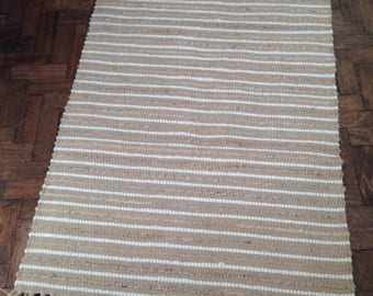 Florence Lilly Home Natural Jute and Cotton Striped Rug 90 x 150 cm