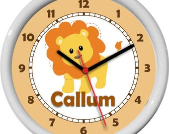 Lion Fun Personalized Nursery Wall Clock