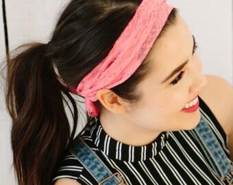 no headache headband, women's lace headband, Pink Lace Headband, women's lace headband, light pink lace headband, baby pink lace headband