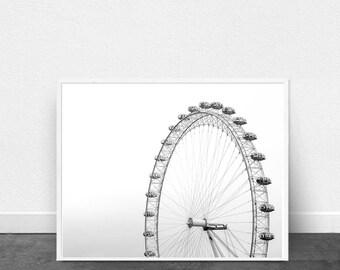 Ferris Wheel Black and White Photograph Minimalist art Printable Poster Scandinavian art Large Monochrome art Home Decor Boho Print Download