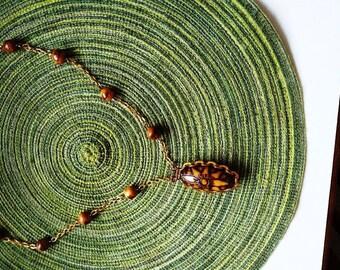 Polish Mountain Craft Vintage Carved Wood Pendant Necklace Goldtone Links Poland 1970s Boho Swagger