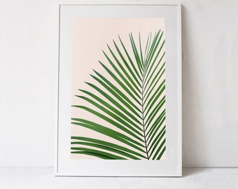 Palm Leaf Print, Tropical Print DIGITAL DOWNLOAD PRINT Green Palm Leaf Art Print, Large Digital Print, Palm Printable Art, Blush Pink Art