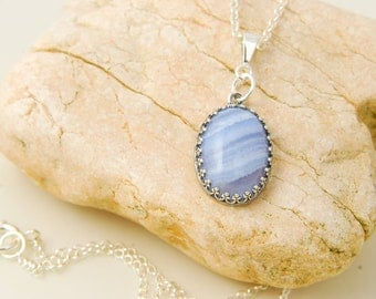 Blue Lace Agate Necklace Healing Stone Jewelry Blue Lace Agate Pendant Light Blue Gemstone Necklace Blue Lace Agate Jewelry Gift For Mother
