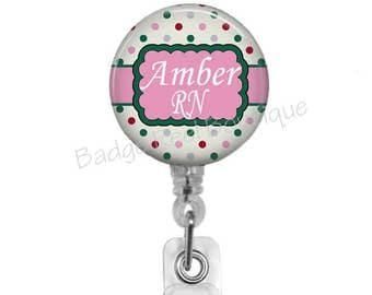 Badge Reels for Nurse, Retractable ID Badge Holder, RN Badge Reel, Personalized Name Clip, Stethoscope Tag, Pink & Green Polka Dots, 471