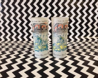 Scenes from the Southland~Mardi Gras~New Orleans~Glass Tumblers~Frosted~Set of Two