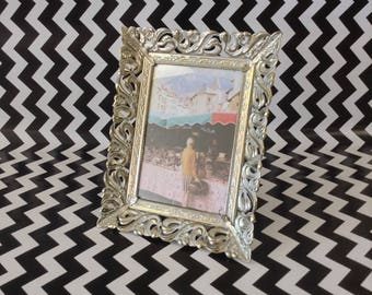 Forgotten Filigree~Whitewashed~Gold~Metal~5x8~Photo Frame~Vintage~B4