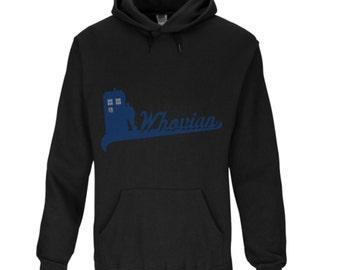 Whovian TARDIS Men's Hoodie. Black/Blue. All Sizes