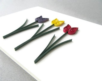 Quilling Tulip Card, Paper Quilled Card, Birthday Card, Flower Birthday, Flower Thanks, Thank You Card, Birthday Card, Paper Quilled Tulips