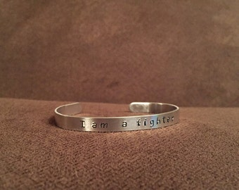 CYSTIC FIBROSIS - Fundraiser - I am a fighter - stamped bracelet cuff - The James Gang Rides Again to Fight CF