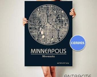 MINNEAPOLIS Minnesota CANVAS Map Minneapolis Minnesota Poster City Map Minneapolis Minnesota Art Print Minneapolis Minnesota poster