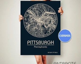 PITTSBURGH Pennsylvania CANVAS Map Pittsburgh Pennsylvania Poster City Map Pittsburgh Pennsylvania Art Print Pittsburgh Pennsylvania