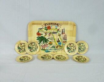 60s Florida Tray & Coasters Set - Tourist Souvenir - Pre-Disney Era - Map of Florida - Woven Bamboo - Vintage 1960s