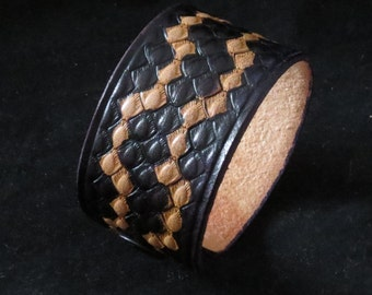 Black Stamped Snakeskin Leather Bracelet Leather Cuff Leather Wristband Hand Colored Unisex