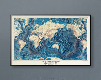 Ocean Floor Map, World Map, Oceans Map, Atlantic Ocean Map, Pacific Ocean Map, Indian Ocean Map, Southern Ocean Map, Artic Ocean, Wall Map