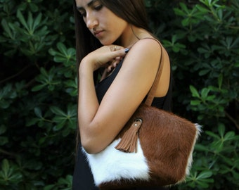 Brown leather clutch, small cowhide purse, wristlet clutch, cow hide handbag, zipped clutch, fur clutch, small lether bag, cowhide clutch