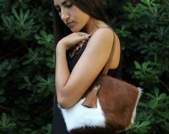 Brown leather clutch, small cowhide purse, wristlet clutch, cow hide handbag, zipped clutch, fur clutch, small lether bag, cowhide clutch