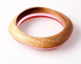 Pink Resin and Wood Bangle