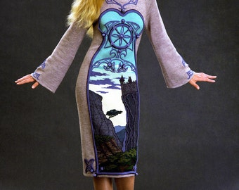 """Hand embroidered knit evning dress """"Gothic #7"""""""