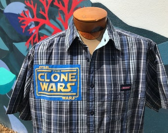 Star Wars The Clone Wars Shirt- Star Wars Shirt- Star Wars Gift- Vintage Star Wars Fabric- Dickies- Size Large