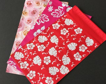 100 NEW 6x9 Designer Poly Mailer Flower Assortment Red and Pink Hibiscus  and  Roses  Self Sealing Envelopes Shipping Bags