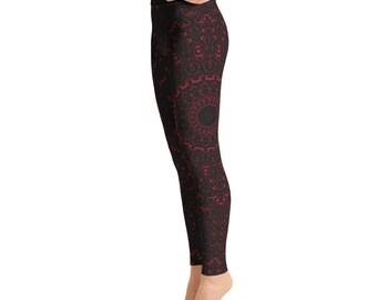 Burgundy Yoga Pants - Black Leggings with Red Mandala Designs for Women, Printed Leggings, Pattern Yoga Tights