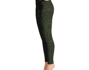 Avocado Yoga Pants - Black Leggings with Green Mandala Designs for Women, Printed Leggings, Pattern Yoga Tights
