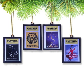 Set of (4) Disney Broadway Playbill Ornament Set-(Pick and Choose from all 8 Musicals)