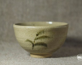 Chawan matcha bowl for Japanese tea ceremony in karatsu technique - vintage handmade *0574